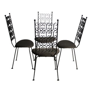 Arthur Umanoff Wrought Iron Dining Chairs For Sale