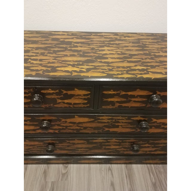 Late 19th Century Antique English Fish Decoupage Chest of Drawers - Two Drawers Over Two Drawers For Sale - Image 5 of 13