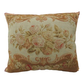 19th Century Floral Aubusson Tapestry Pillow