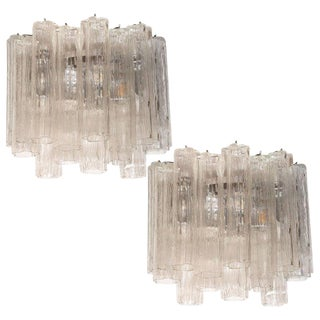Midcentury Staggered Translucent Glass Tronchi Sconces With Nickel Fittings For Sale