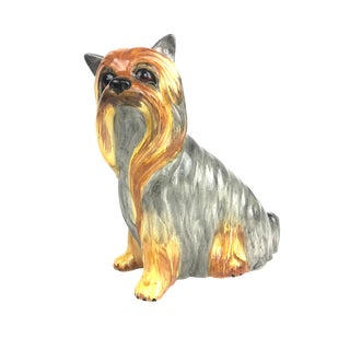Vintage Italian Ceramic Yorkshire Terrier Figurine - Life Size For Sale