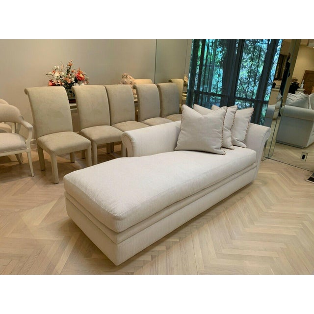 Late 20th Century Custom Fainting Couch With Left Arm Rest and Textured Fabric For Sale - Image 5 of 12