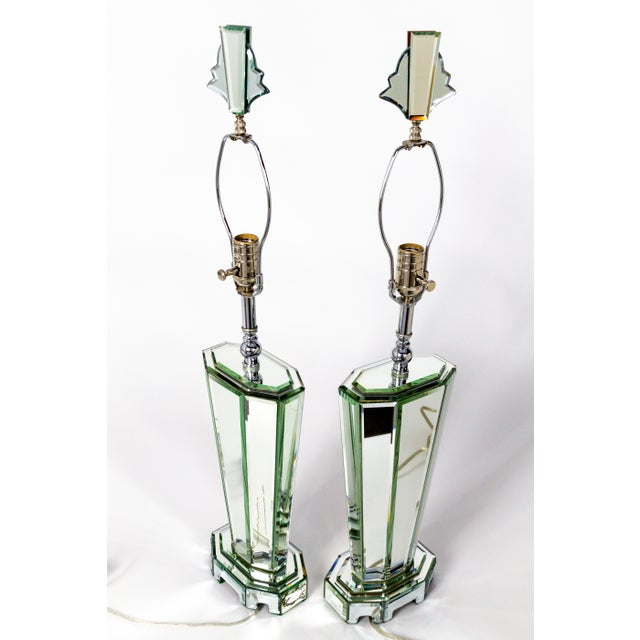 Art Deco Modern Beveled Mirror & Chrome Lamps W/ Deco Finials - a Pair For Sale - Image 3 of 13