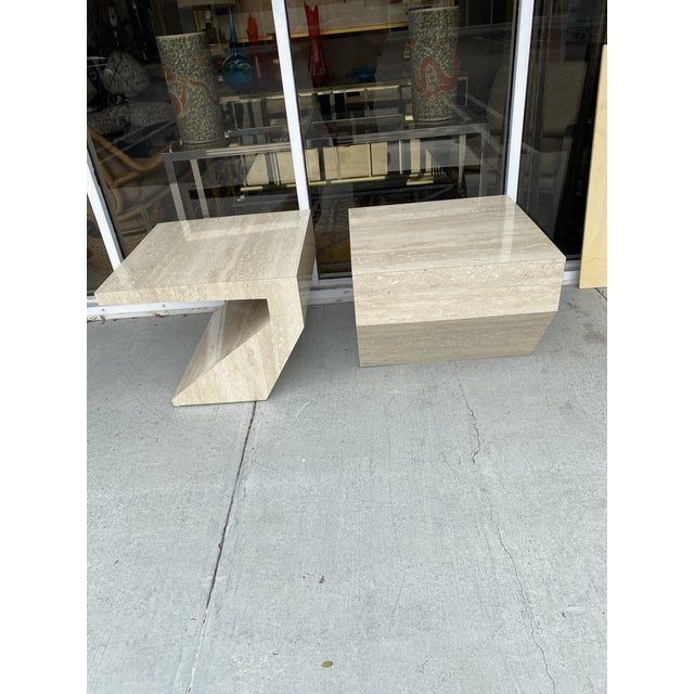 Faux Travertine Geometric Shapes Side Tables a Pair. For Sale In Miami - Image 6 of 13