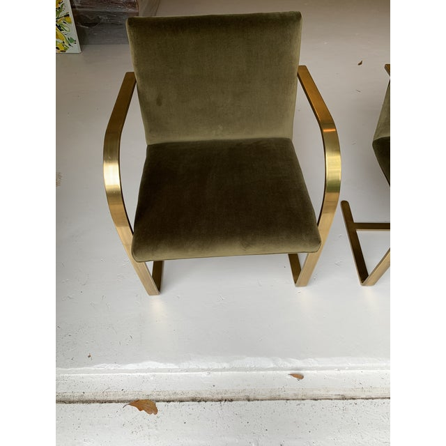 Green 1970s Vintage Brass Brno Chairs- a Pair For Sale - Image 8 of 13