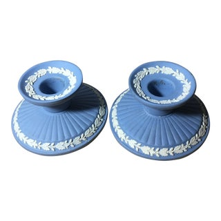 Vintage Wedgwood Blue Jasperware Candle Holders - a Pair For Sale