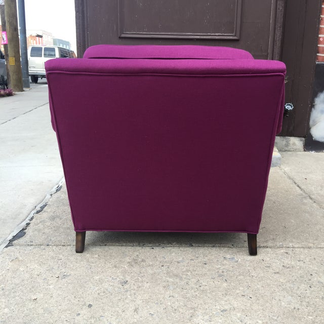 Mid Century Modern Raspberry Linen Armchair - Image 6 of 6