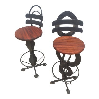 Vintage Custom Postmodern Memphis Style Iron and Wood Bar Stools - a Pair For Sale