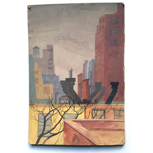 Original Mid-Century Rooftops Painting For Sale In Detroit - Image 6 of 8