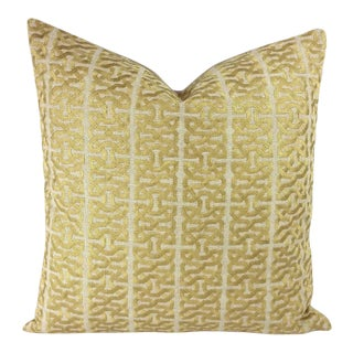 Kravet Couture Barbara Barry Ceylon Key Spungold Pillow Cover For Sale
