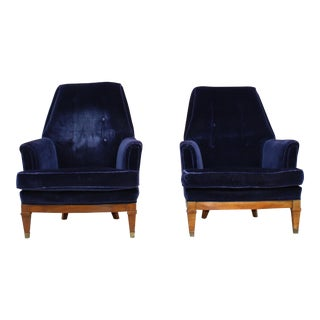 1960s Art Deco Blue Mohair Velvet Armchairs - a Pair