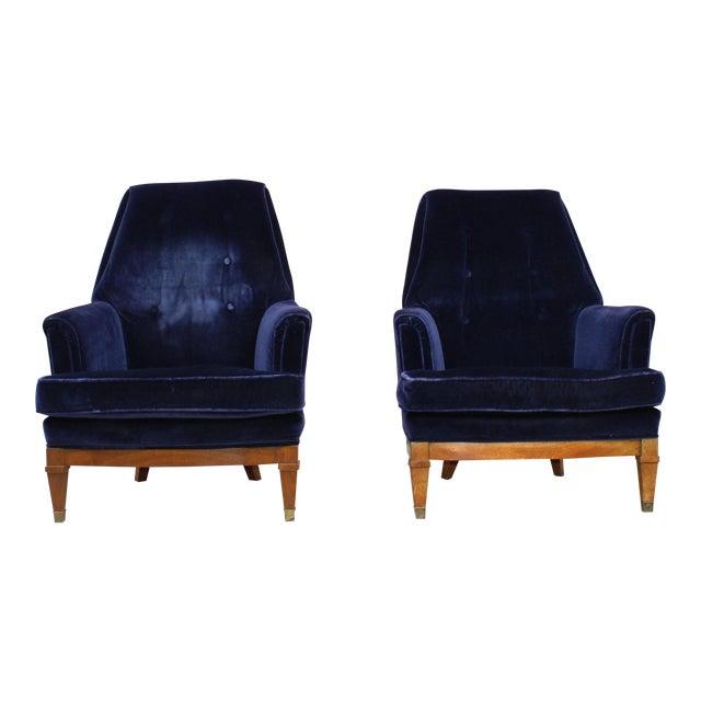 1960s Art Deco Blue Mohair Velvet Armchairs - a Pair For Sale