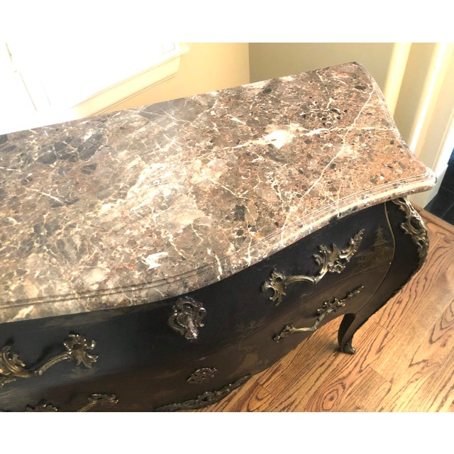 Black Early 20th C. Chinoisere Marbletop Louis XV Commode For Sale - Image 8 of 11