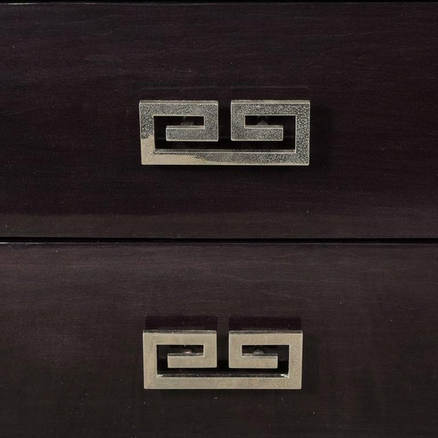 Silver Pair of Mid-Century Greek-Key Nightstands or End Tables with Greek Key Pulls For Sale - Image 8 of 9