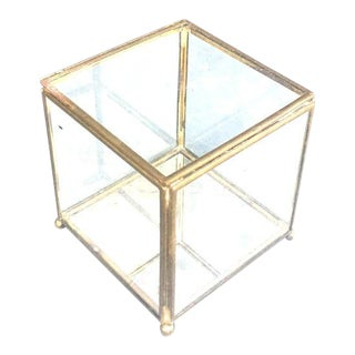 Vintage Brass & Glass Mirrored Display or Jewelry Box For Sale