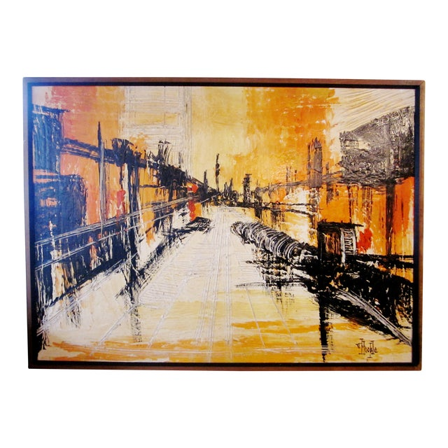 Mid-Century Modern Signed Van Hoople Modernist Industrial Abstract Landscape Impasto Style Oil on Canvas Painting For Sale