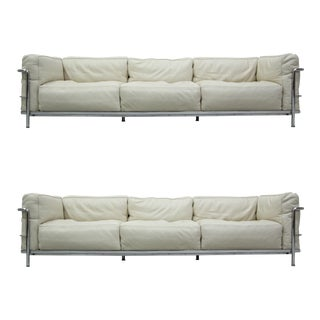 Authentic Pair of Lc3 Cassina Grand Modele 3 Seat Sofas by Le Corbusier