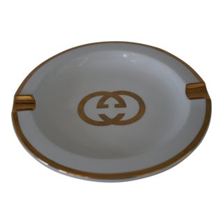 Vintage Gucci Ashtray With Gold Trim For Sale