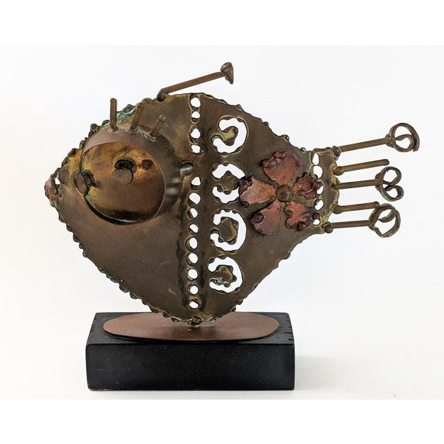 Jere Style Bronze and Brass Fish Sculpture For Sale - Image 13 of 13