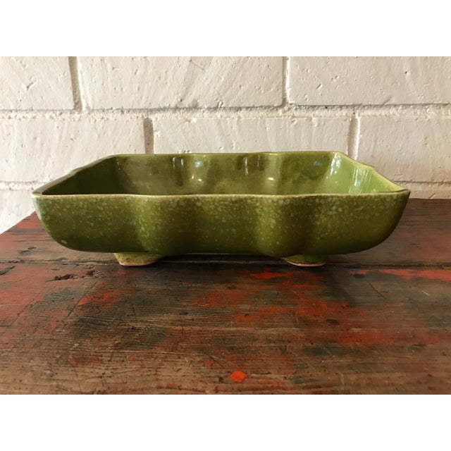 Usa Pottery Green & Blue Shallow Planter For Sale - Image 9 of 9