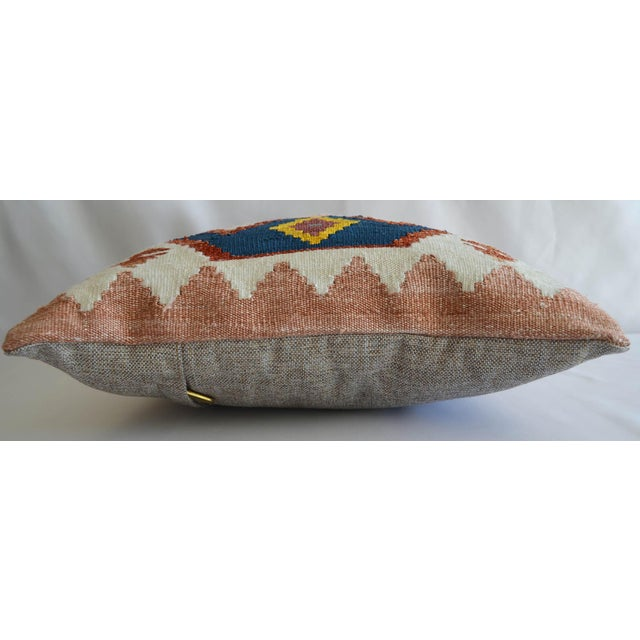 """Offered a 16"""" square hand woven one of a kind Turkish kilim pillow. Made from 50%Silk, 50% viscone on cotton hand woven..."""