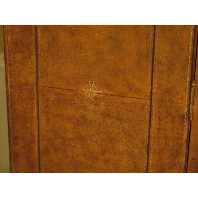 Maitland Smith Leather Wrapped House Form China Cabinet For Sale - Image 9 of 13