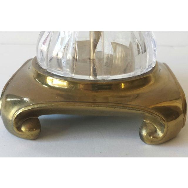 Crystal & Brass Ginger Jar Lamp For Sale - Image 4 of 9