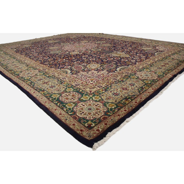 This is a vintage Persian Tabriz area rug rendered in a traditional style. The piece was inspired by the Ardabil carpet...