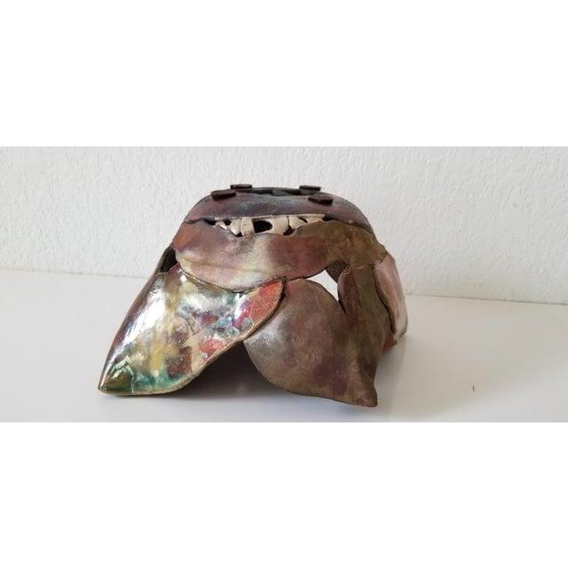 Brown Vintage Sculptural Art Pottery Vase . For Sale - Image 8 of 11