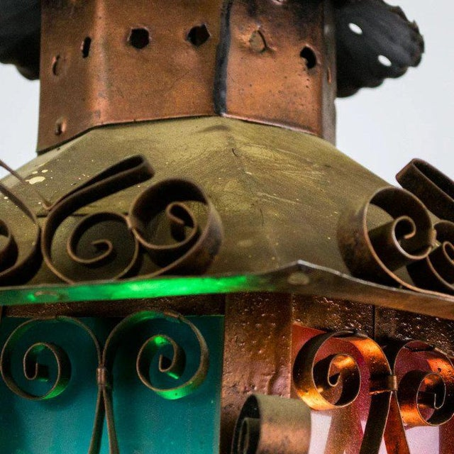 Mid Century Spanish Revival Copper Lantern with Green & Rose Colored Glass For Sale - Image 4 of 10