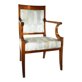 Italian Neoclassic Carved Cherrywood Chair For Sale