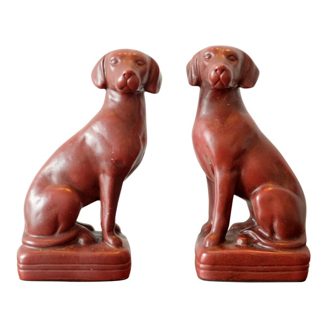 Vintage Red Dog Bookends - a Pair For Sale