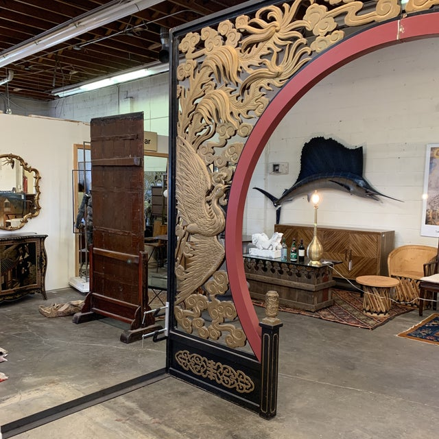 1970s Room Size Wood Carved Chinese Moon Gate For Sale - Image 5 of 13
