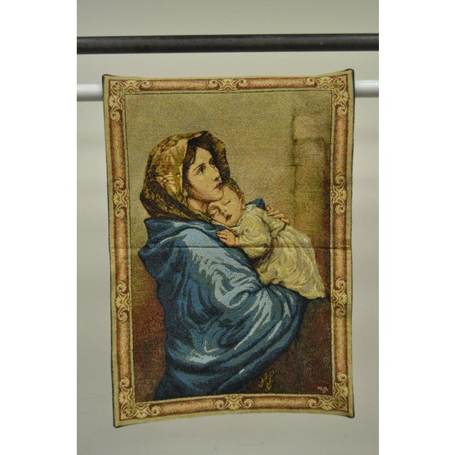 "Early 21st Century 25""x 18"" French Wall Hanging Tapestry Aubusson Mother and Child Madonna Ferruzzi For Sale - Image 5 of 6"