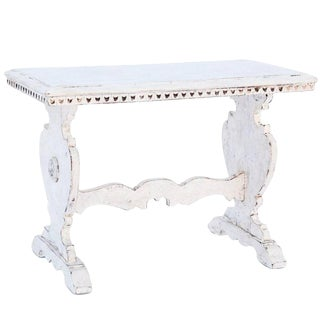 Painted 19th Century Trestle Side Table For Sale