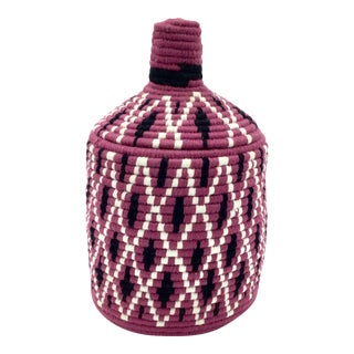 Purple and Black Moroccan Wool Basket For Sale