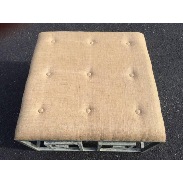 Beige Greek Key Iron and Burlap Upholstery Ottoman/Coffee Table For Sale - Image 8 of 11