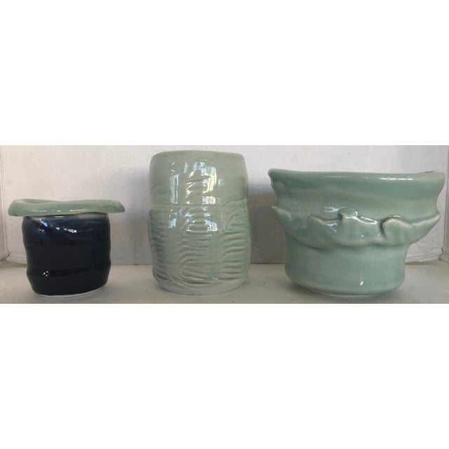 Three Studio Pottery Vases Signed For Sale - Image 13 of 13