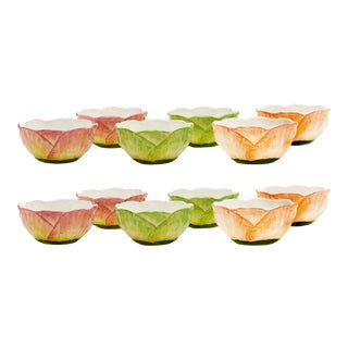 Moda Domus x Chairish Exclusive Small Bowls in Green, Yellow, and Pink- Set of 12 For Sale