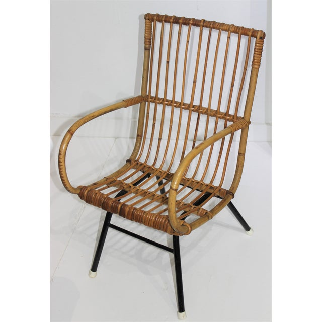 Mid-Century Modern Franco Albini Style Child's Chair Bamboo and Rattan For Sale - Image 11 of 13