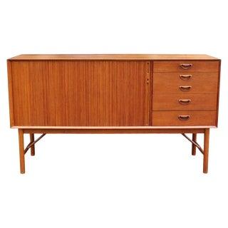 Mid-Century Modern Danish Teak Credenza Dresser Tambour Doors 1960s Larsen Style For Sale