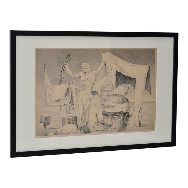 John B. Lear Surreal Male Lithograph C.1940s For Sale