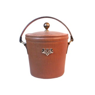 Vintage Bosca Full Grain Leather Ice Bucket For Sale