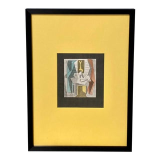Pablo Picasso Vintage Lithograph Pochoir Men at Table Before Window Signed For Sale