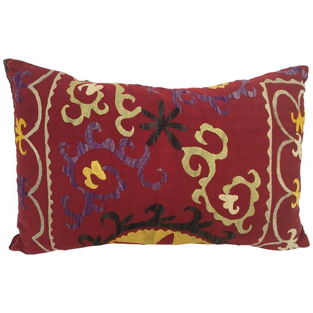 Large Vintage Colorful Suzani Embroidery Throw Pillow From Uzbekistan For Sale - Image 13 of 13