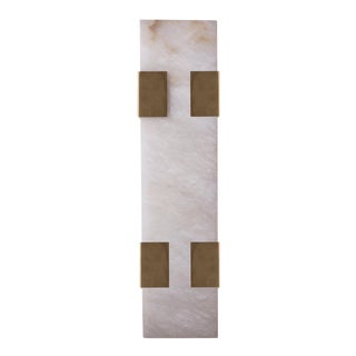 Contemporary 003-4C Sconce in Brushed Brass and Alabaster by Orphan Work, 2018 For Sale