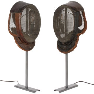Vintage Italian Fencing Mask Lamps - a Pair For Sale