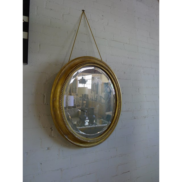 Traditional Distressed Gilt Oval Antiqued Mirror Hung by Rope For Sale - Image 3 of 13