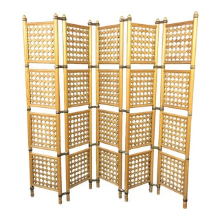 1960s Mid-Century Modern Walnut Five-Panel Folding Room Divider For Sale