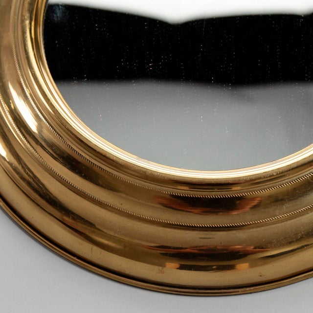 1950s Small French Mid Century Brass Pocket Watch Wall Mirror For Sale - Image 5 of 7